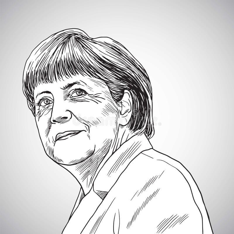 Październik 31, 2017: Rysować Angela Merkel kanclerz Niemcy również zwrócić corel ilustracji wektora royalty ilustracja