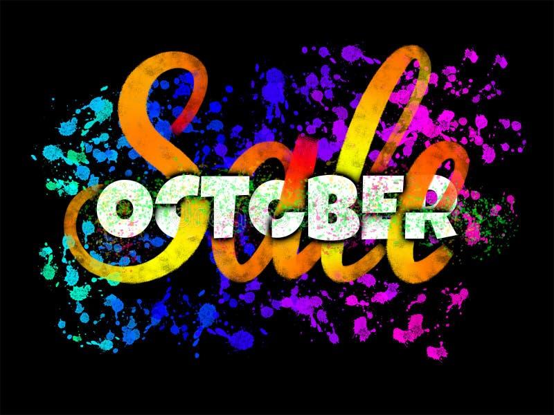 Październik sprzedaży pięknie wykonujący ręcznie plakat łączy typografię i muśnięcia literowanie z rozjarzonymi atramentów kleksa ilustracji