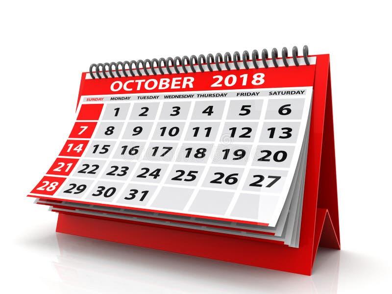 Października 2018 kalendarz pojedynczy białe tło 3 d czynią obraz stock