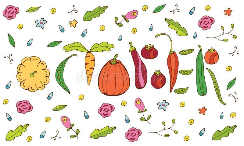 Października literowanie z warzywami ilustracja wektor