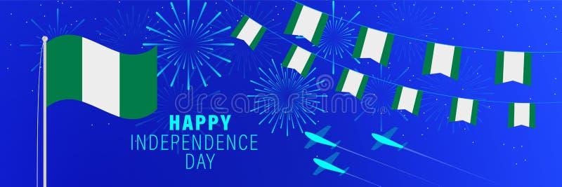 Października1 Nigeria dnia niepodległości kartka z pozdrowieniami Świętowania tło z fajerwerkami, flagami, flagpole i tekstem, ilustracji