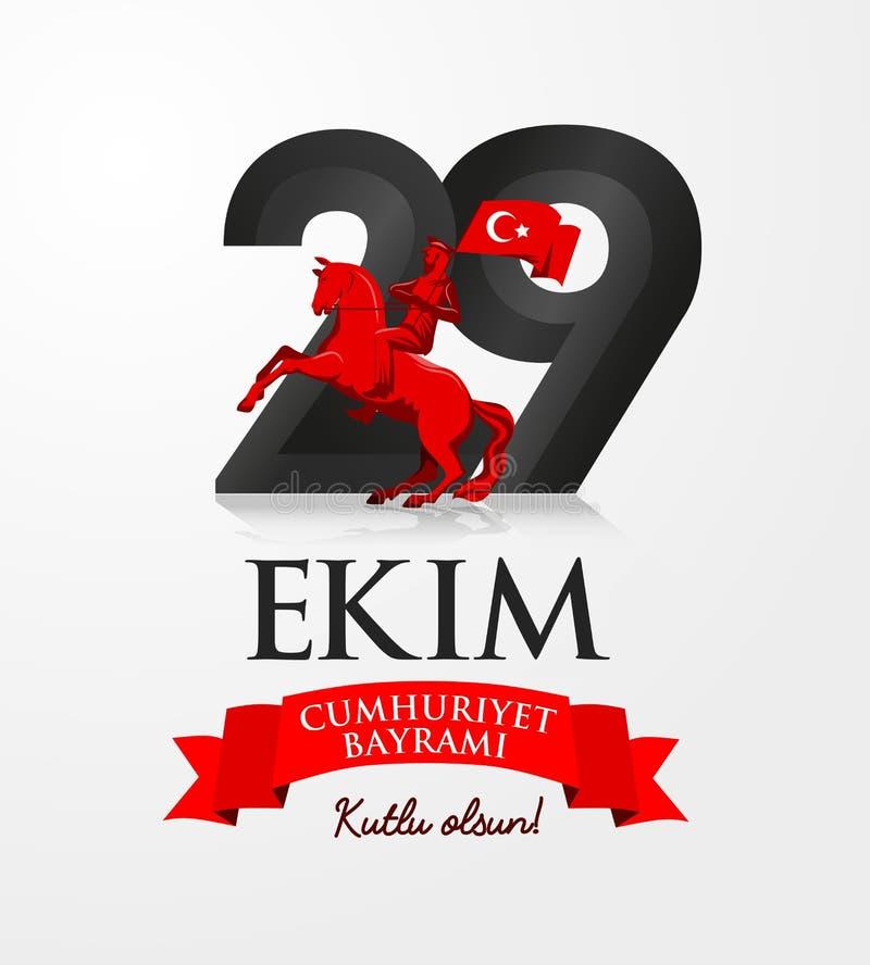 29 Października republiki dzień Indyczy kartka z pozdrowieniami Indyczy obywatel royalty ilustracja