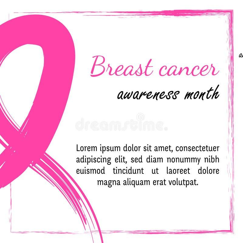 15 Października Wektorowa ilustracja dla nowotworu piersi dnia Akwareli świadomości symbol - różowy kredkowy faborek ręka patrosz royalty ilustracja