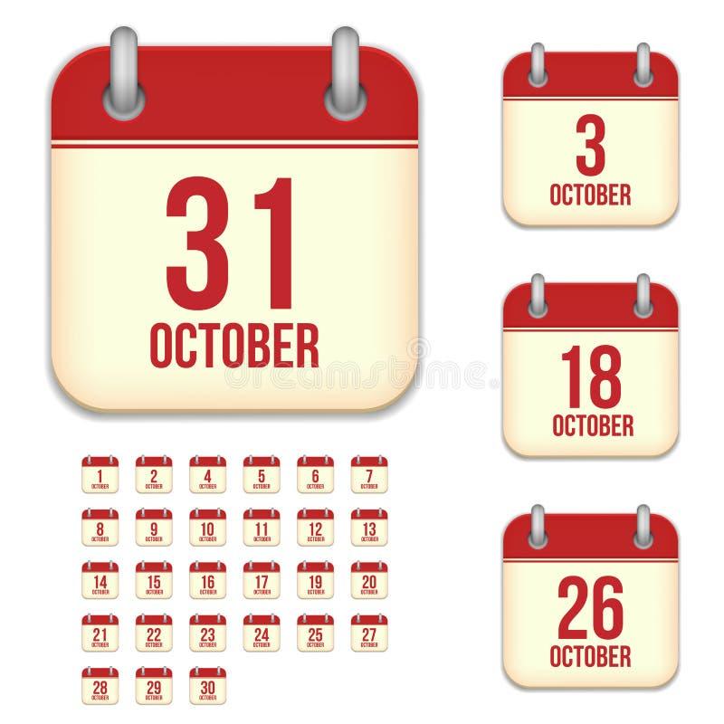 Października wektoru kalendarza ikony royalty ilustracja