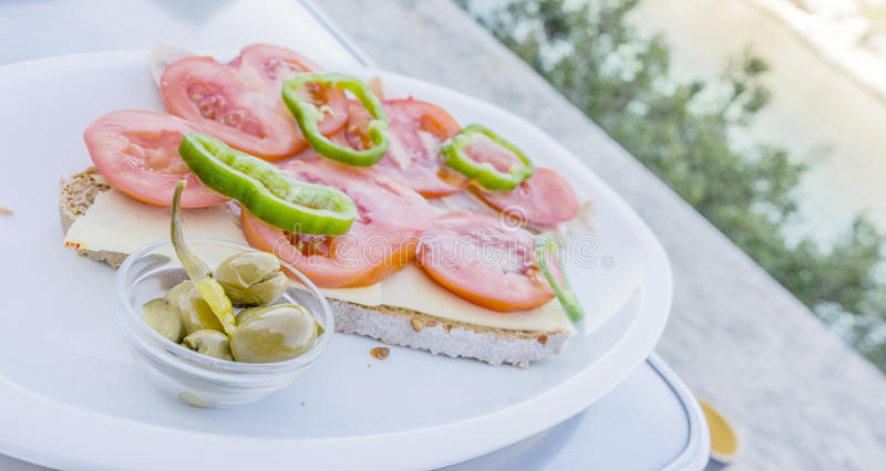 PA-amb oli, traditionelles Mallorca-Lebensmittel lizenzfreies stockfoto