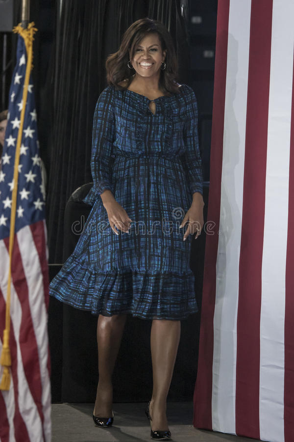 PA: First Lady Michelle Obama for Hillary Clinton in Philadelphia stock image