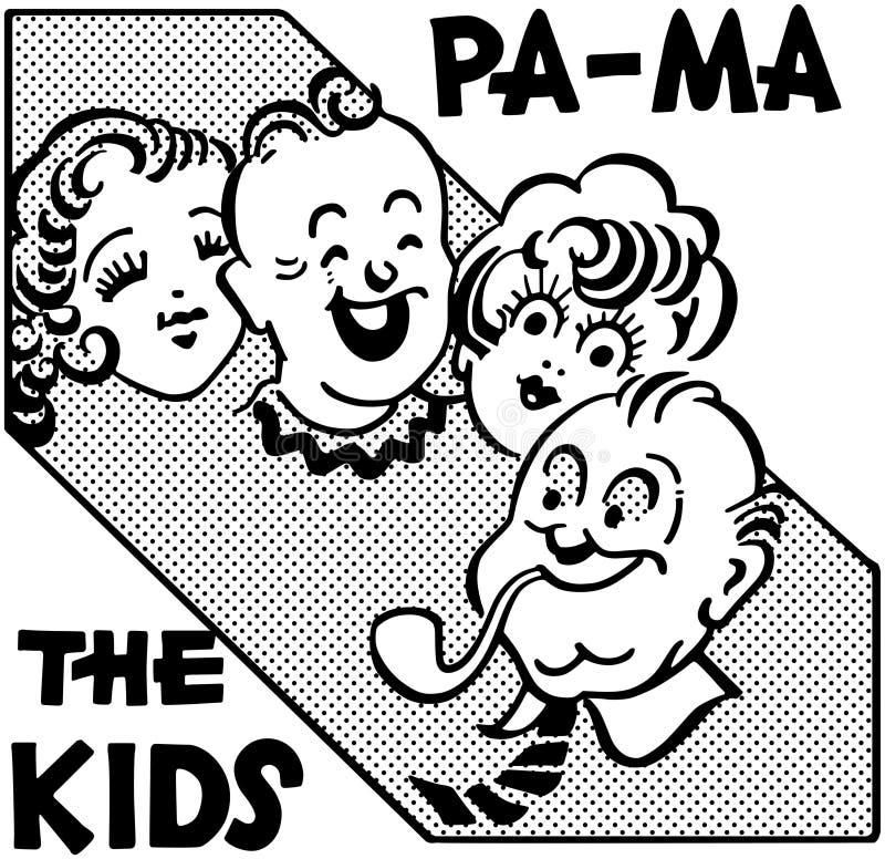 PA mA los niños stock de ilustración