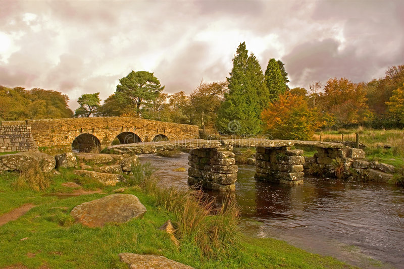 PA nacional de Dartmoor del puente de la chapaleta foto de archivo