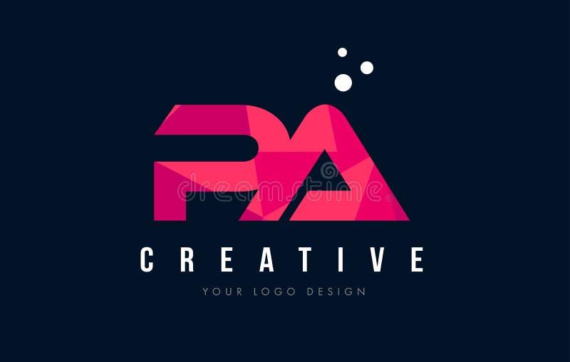 PA P ein Buchstabe-Logo mit purpurrotem niedrigem rosa Dreieck-Polykonzept stock abbildung