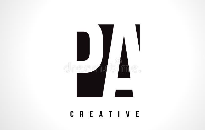 PA P uma letra branca Logo Design com quadrado preto ilustração do vetor
