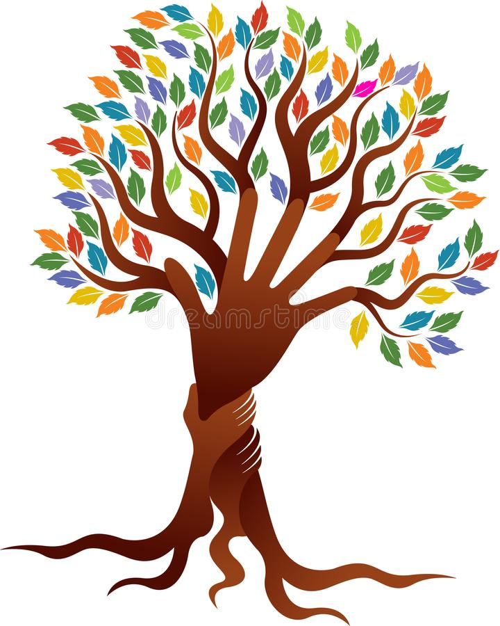 Paar übergibt Baumlogo lizenzfreie abbildung