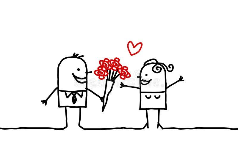 Paar & rozen royalty-vrije illustratie
