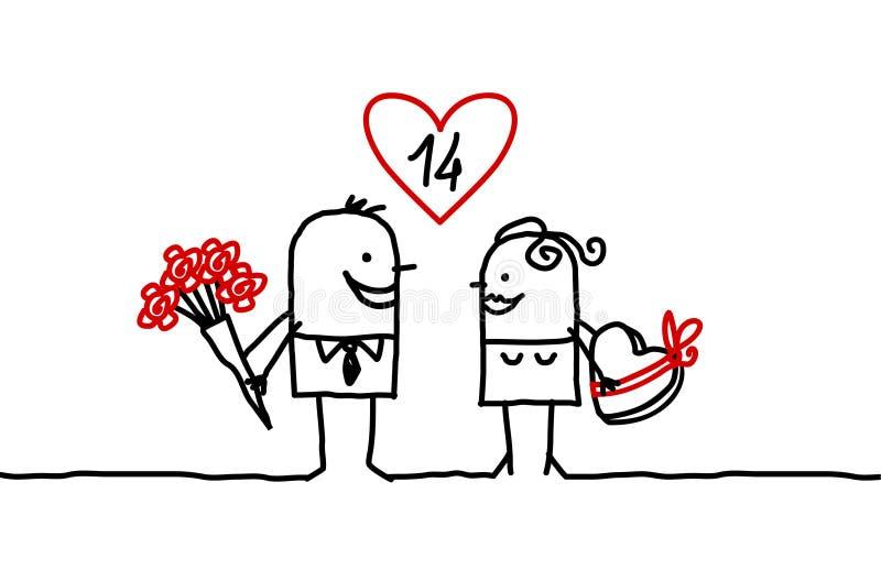 Paar & Valentijnskaart royalty-vrije illustratie