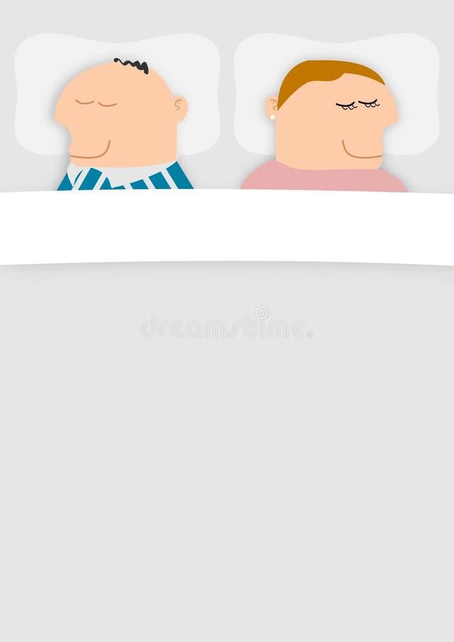 Paar in Bed stock illustratie