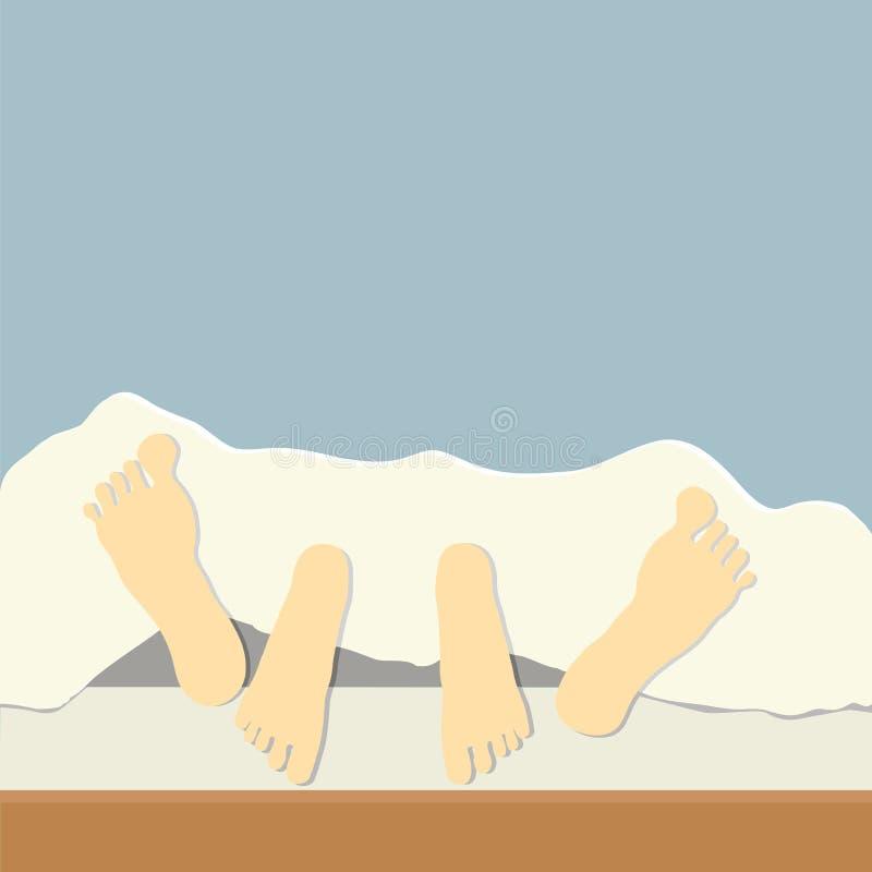 Paar in bed royalty-vrije illustratie