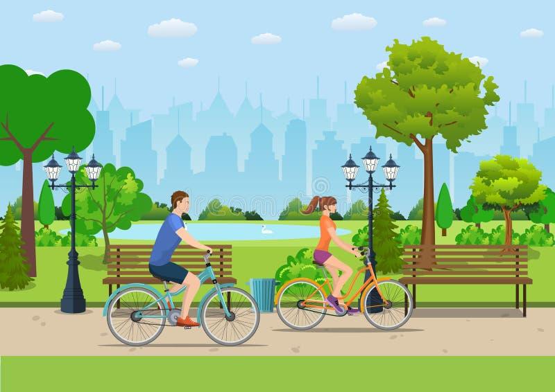 Paar Berijdende Fietsen in Openbaar Park, stock illustratie