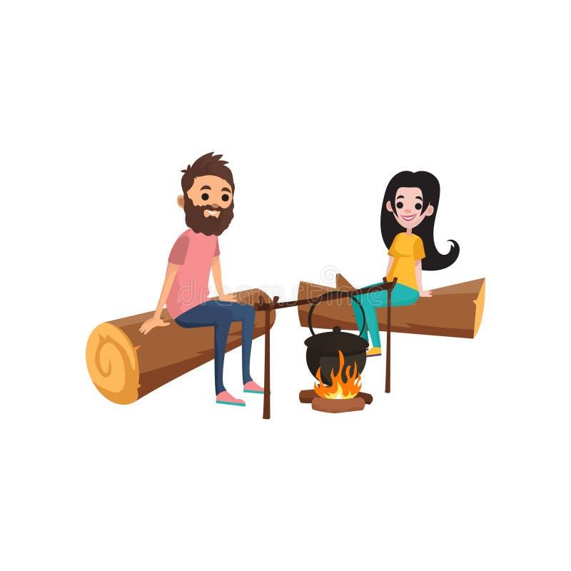 Paar bij picknickzitting op logboeken dichtbij kampvuur Jonge gebaarde man en donkerbruine vrouwenkarakters die voedsel op vuur k vector illustratie