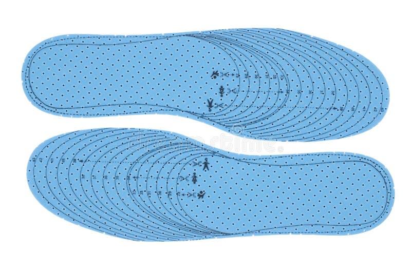 Paar blauwe schuimbinnenzolen stock foto's