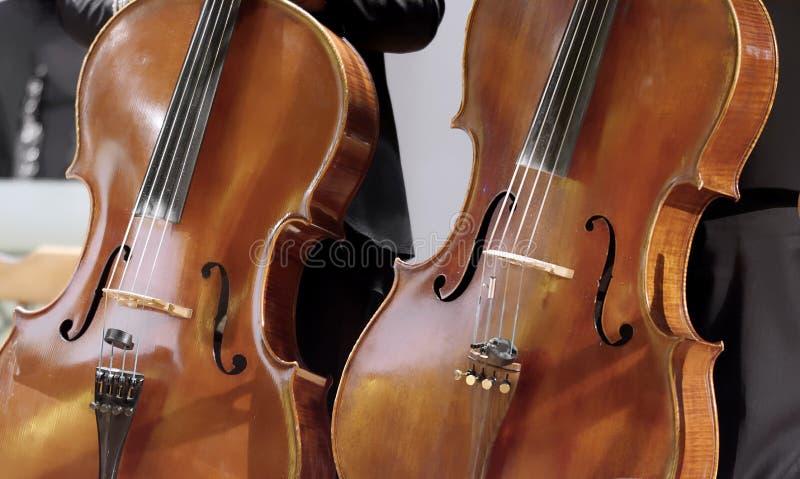 Paar cello's in een schuine verticale positie ongeveer parallel stock foto's