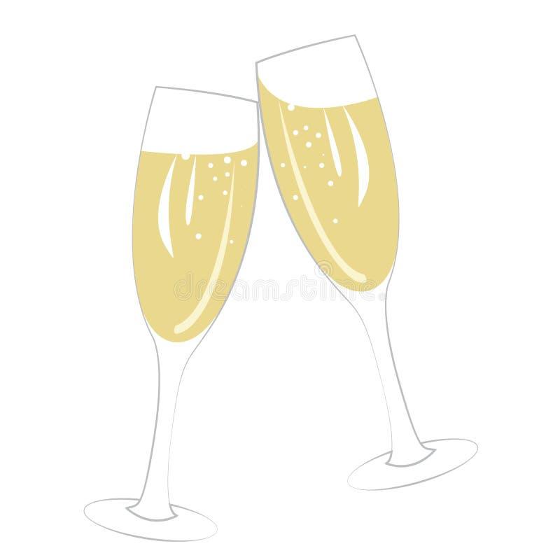 Paar champagneglazen op wit stock illustratie