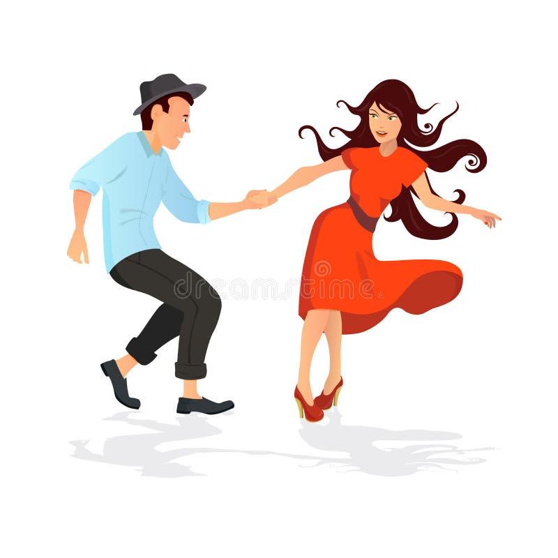 Paar dansende schommeling, rots of lindy hop royalty-vrije illustratie