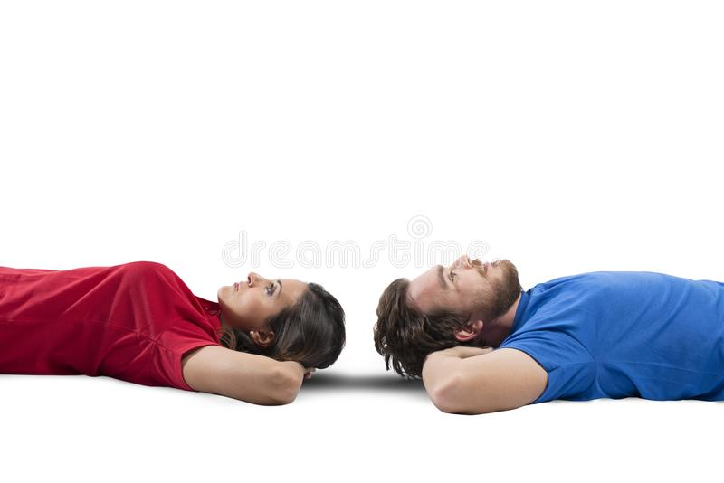 Paar, das denkt lizenzfreie stockfotografie