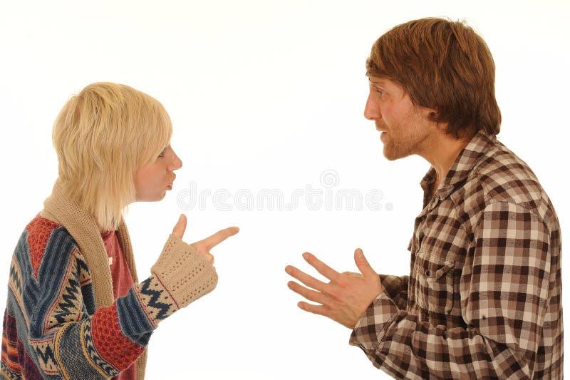 Paar dat argument heeft stock foto