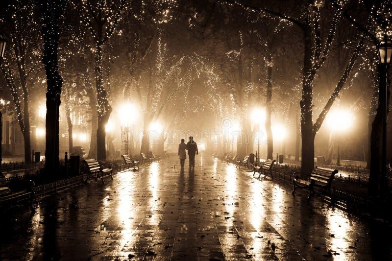 Paar dat bij steeg in nachtlichten loopt. stock afbeeldingen