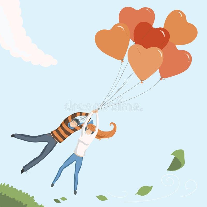 Paar dat door de Ballon van het Hart vliegt royalty-vrije illustratie