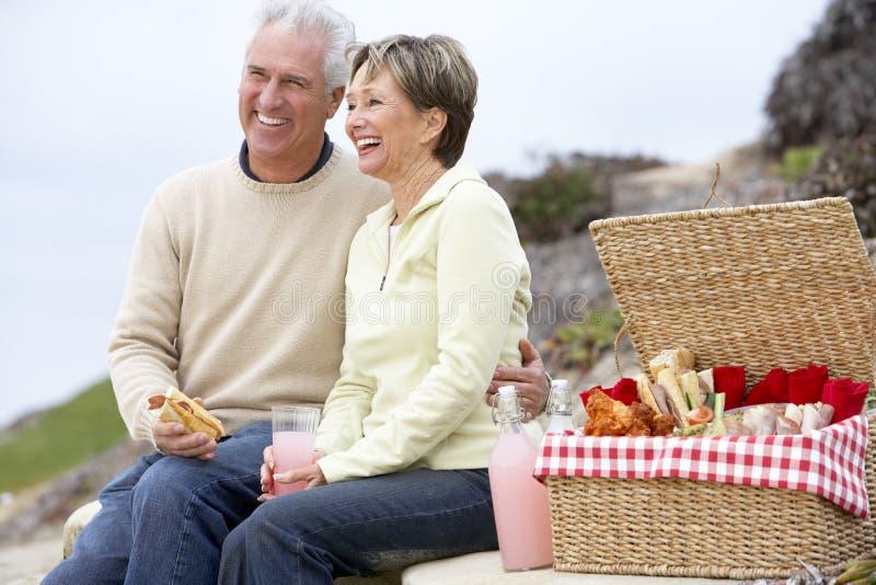 Paar dat een Al Maaltijd van de Fresko eet bij het Strand royalty-vrije stock afbeelding