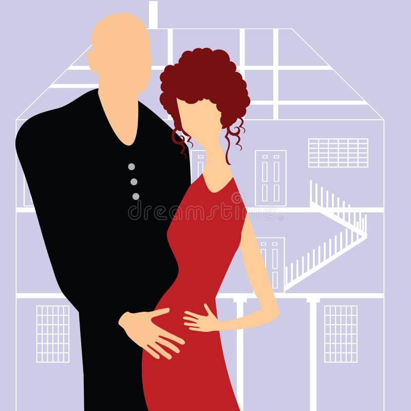 Paar dat een baby verwacht royalty-vrije illustratie