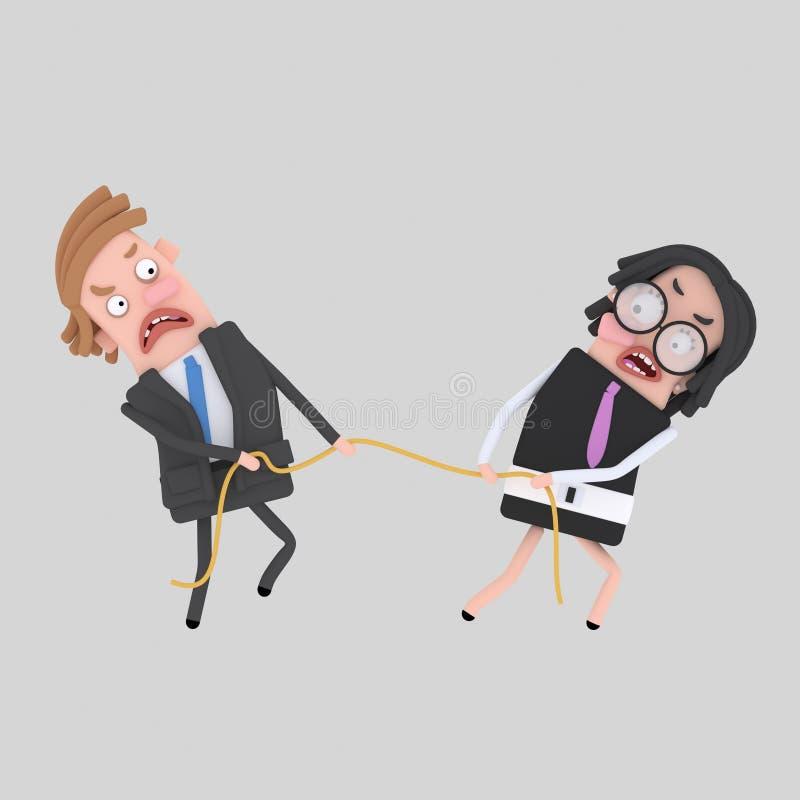 Paar dat een kabel trekt stock illustratie