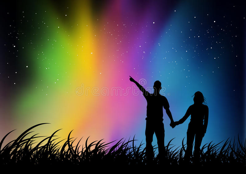 Paar dat op Noordelijke Lichten let royalty-vrije illustratie