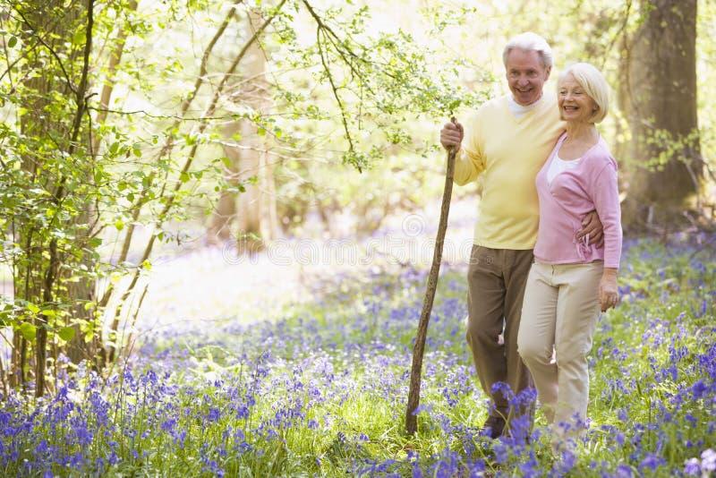 Paar dat in openlucht met wandelstok het glimlachen loopt stock afbeelding