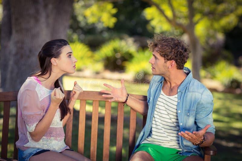 Paar dat in park debatteert stock afbeelding