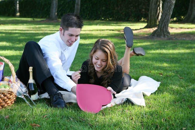 Paar dat Picknick heeft royalty-vrije stock fotografie