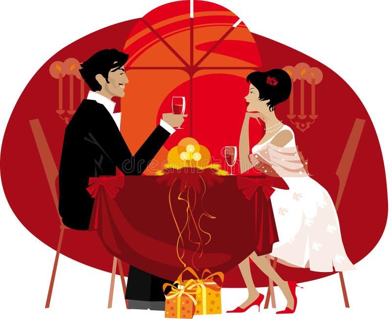 Paar dat van buitensporig diner geniet stock illustratie
