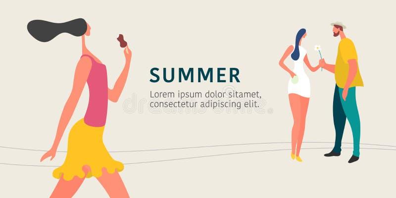 Paar dateren en hipster vrouw die in de vectorillustratie van de de zomerstad lopen royalty-vrije illustratie