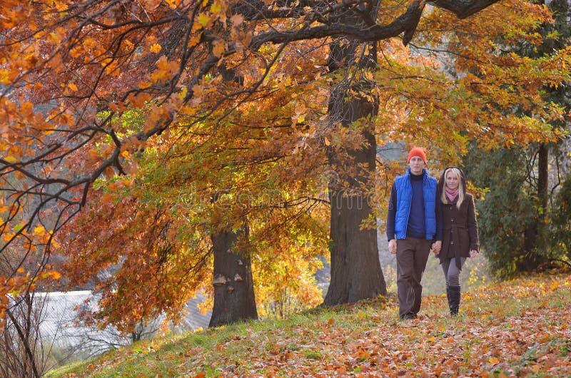 Paar in de herfstpark stock fotografie