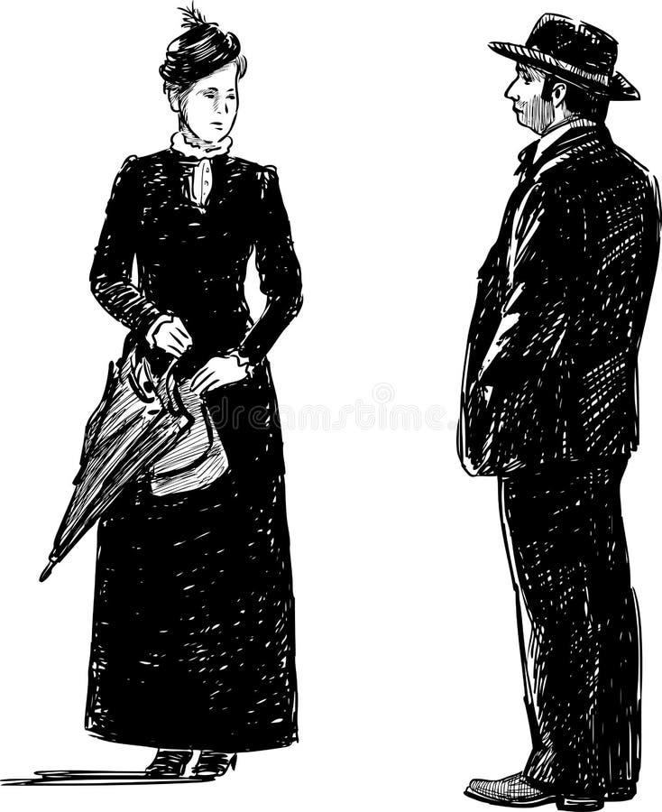 paar in de historische kostuums vector illustratie