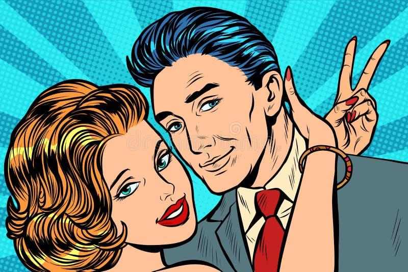 Paar in de overwinningsgebaar van liefdeomhelzingen vector illustratie