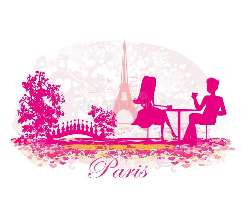 Paar in de Parijse koffie stock illustratie