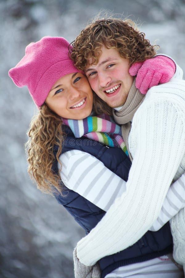 Paar in de winter royalty-vrije stock foto's