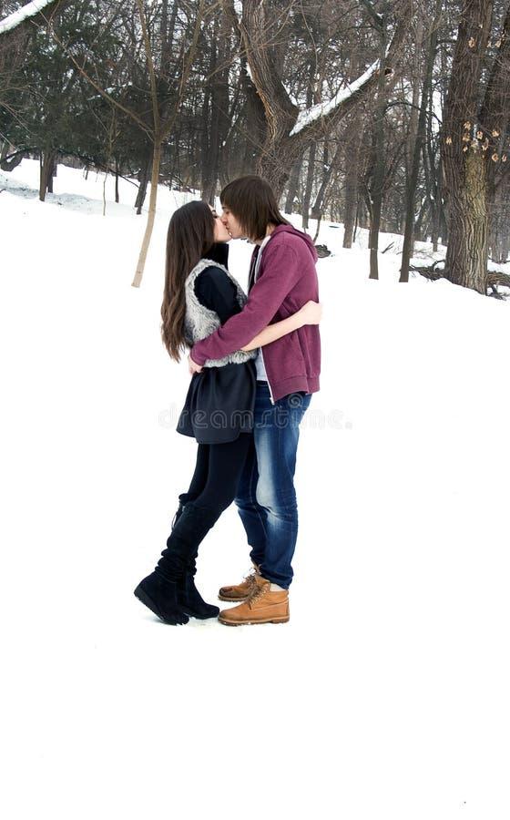 Paar in de winter stock foto