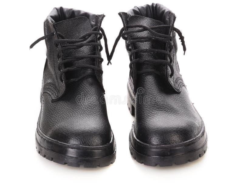 Paar de winter zwarte laarzen. stock foto's