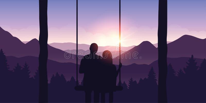 Paar in der Liebe auf einem Schwingen genießt die Ansicht der Berge lizenzfreie abbildung