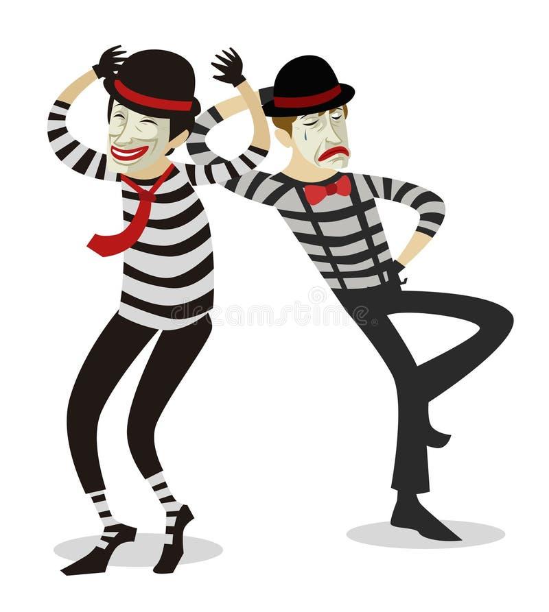 Paar des Pantomimen blödelt Künstler herum lizenzfreie abbildung