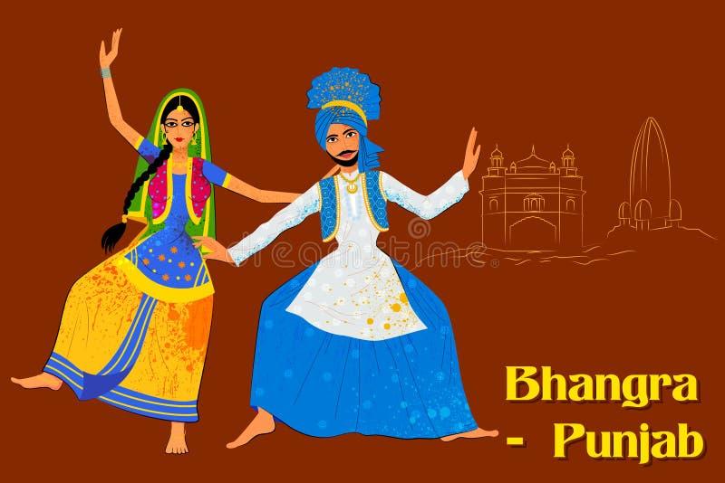 Paar die Bhangra-volksdans van Punjab, India uitvoeren royalty-vrije illustratie