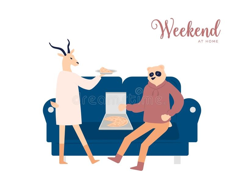 Paar die concept van de weekend het thuis vectoraffiche hebben vector illustratie