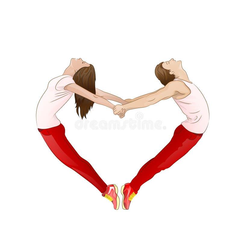 Paar die de het hartvorm van een valentijnskaart vormen met stock illustratie